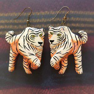 Large Wood Painted Tiger Earrings - so fun!